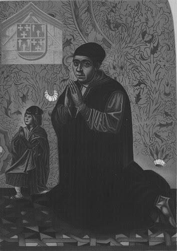 Retratos de Juan Guas, Arquitecto de San Juan de los Reyes, y de su hijo en la Capilla del Cristo de la Columna en la Parroquia de San Justo a principios del siglo XX.
