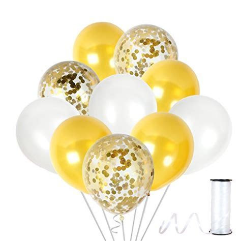 Gold Latex Balloons   12 Clear Confetti Pieces Set   Top