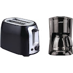 Brentwood Appliances 12-Cup Black Coffee Maker and 2-Slice Black Toaster with Extra-Wide Slots