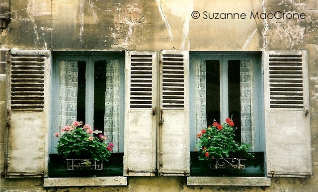 French Country Windows ~ France ~ Original Colour Photograph by Suzanne MacCrone