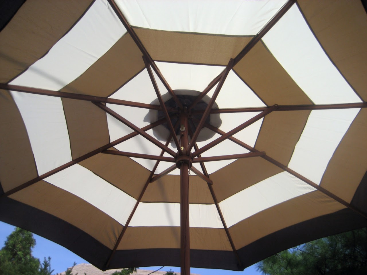 9 FT.MARKET PATIO UMBRELLA BROWN AND BEIGE STRIPE NEW | eBay