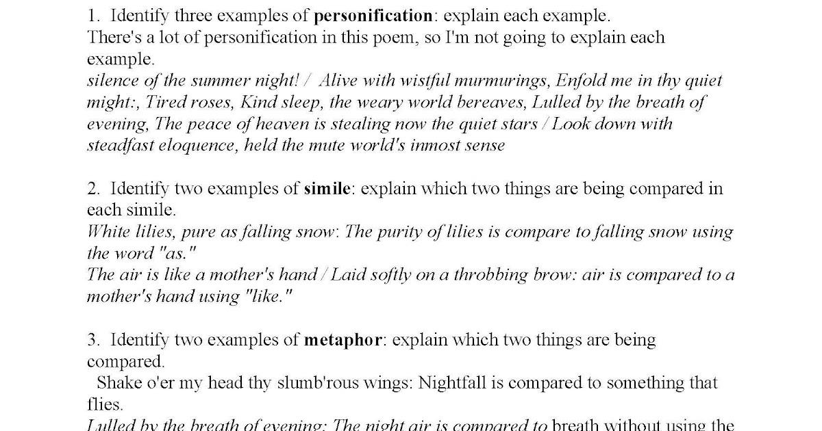 Figurative Language Worksheet 3 Answers - worksheet