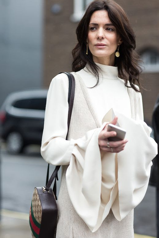 Le Fashion Blog Hedvig Opshaug Streetstyle Fluted Sleeves Turtleneck Gucci Shoulder Bag Deep V Textured Dress Via A Love Is Blind