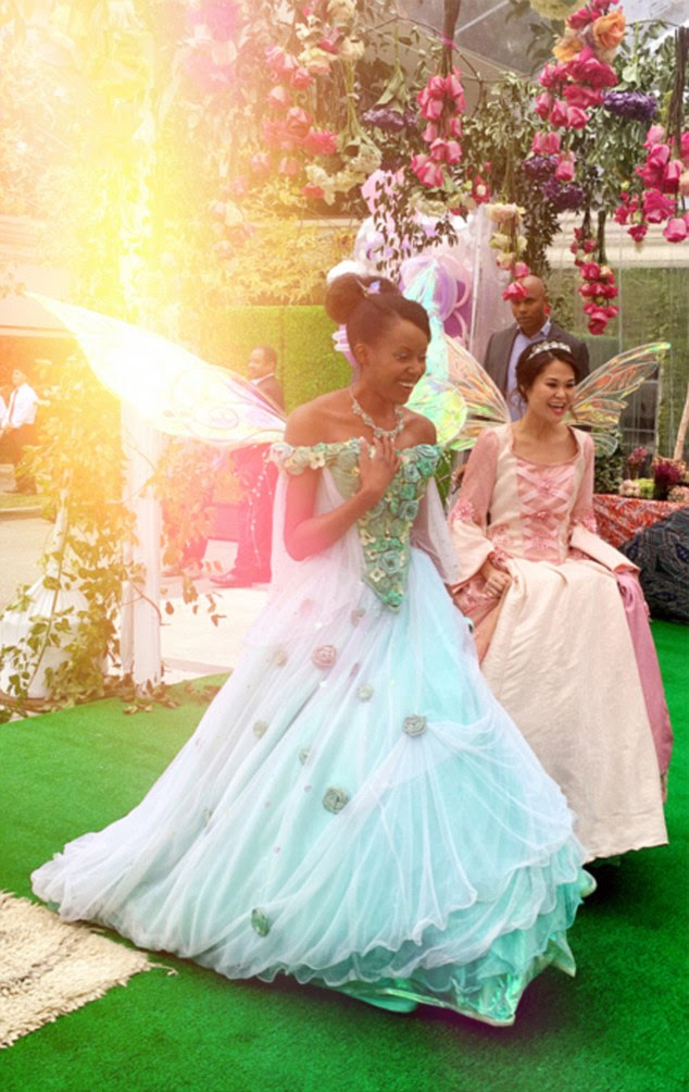 Life's a fairytale: Blue had some special guests at the bash as she was visited by real life fairy princesses