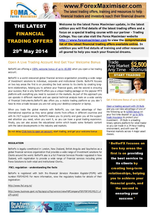 The Latest Financial Trading Offers - News Team Forex Maximiser