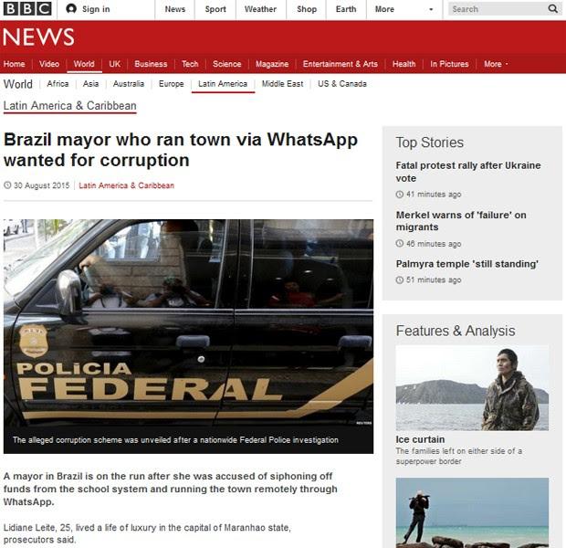 BBC destaca busca por prefeita que comandava cidade via WhatsApp (Foto: Reprodução / BBC)