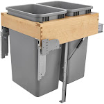 Dbl 50 QT Top Mount Waste Container, 18-1/4 X 21-7/8 X 24-3/4 in