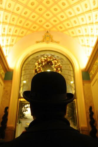 Man in the bowler hat, entrance, Mayflower Park Hotel, celebrating 84 years, Seattle, Washington, USA