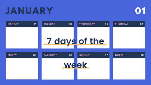 7 Days of the Week in French, English and Hindi