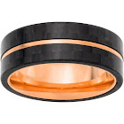 Stainless Steel Ring with Forged Carbon Fiber and Rose Plating