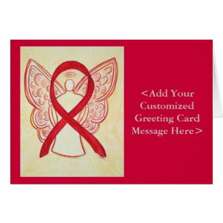 Red Awareness Ribbon Angel Personalized Cards