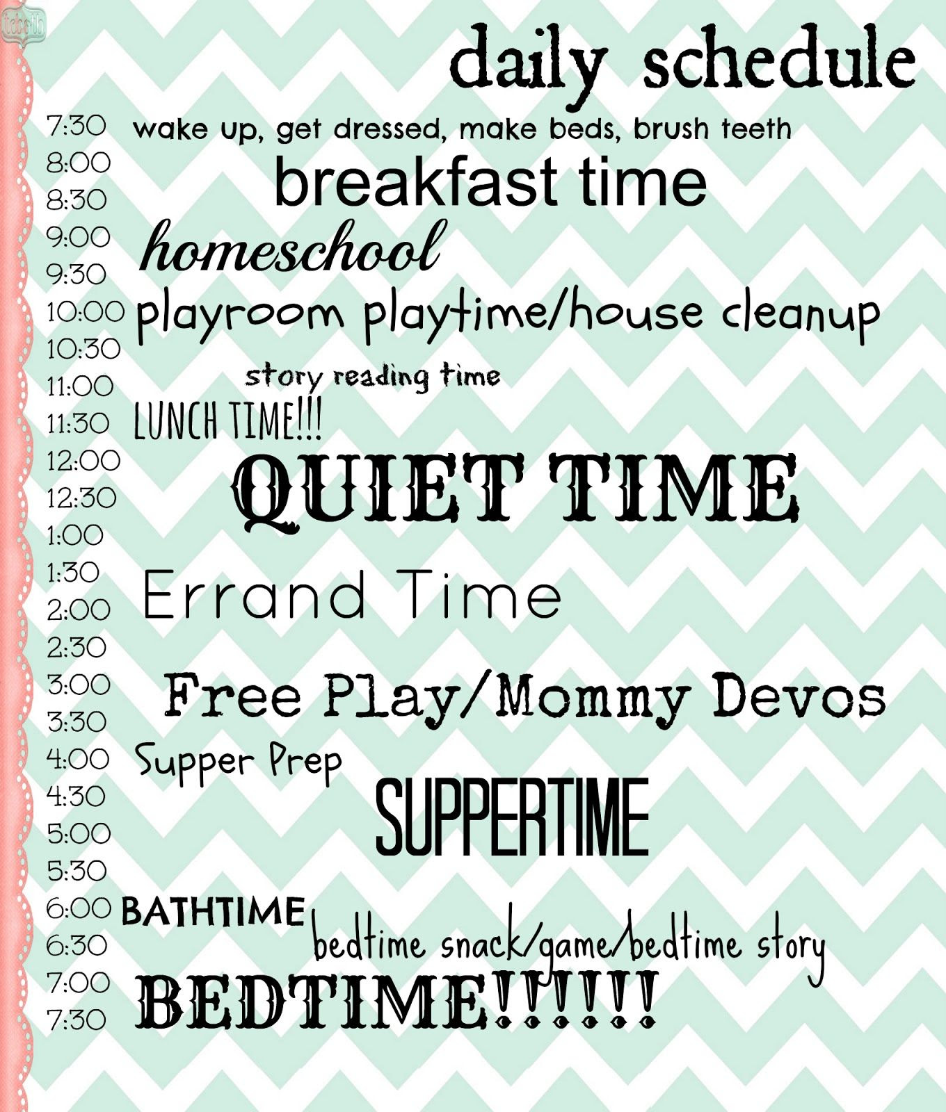 Daily Schedule For 4 Year Old | Daily Agenda Calendar