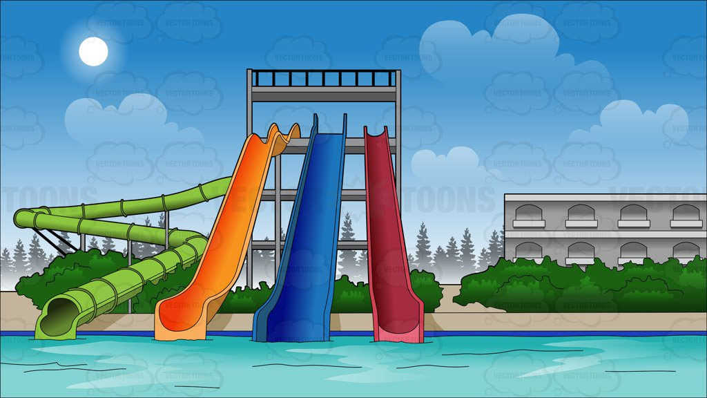 Water Park Slides Background Clipart Cartoons By Vectortoons