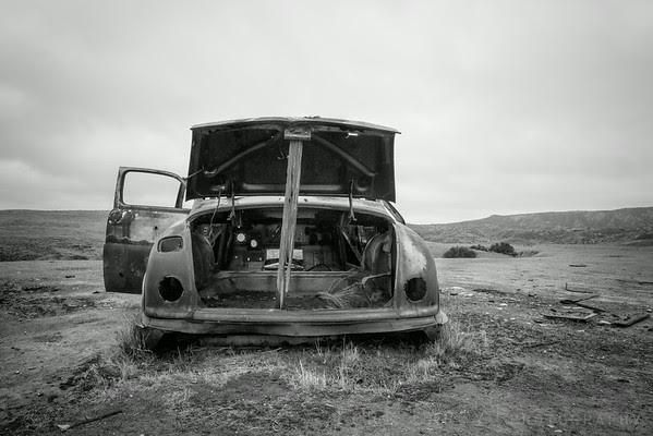 Abandoned automobile, Carrizo Plain National Monument