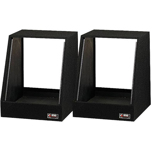 Odyssey CRS12 12 Spaces 12U Angled Face Open Back Carpeted Studio Rack, Black - 2 pack