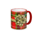Personalize: Tartan Christmas Present and Ribbons Ringer Coffee Mug