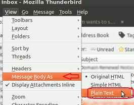 view plain text in thunderbird