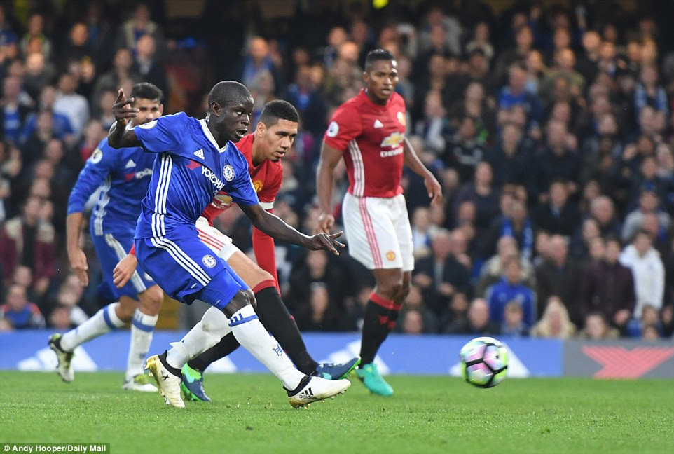 N'Golo Kante makes it four as Chelsea run riot against United at Stamford Bridge on Sunday afternoon