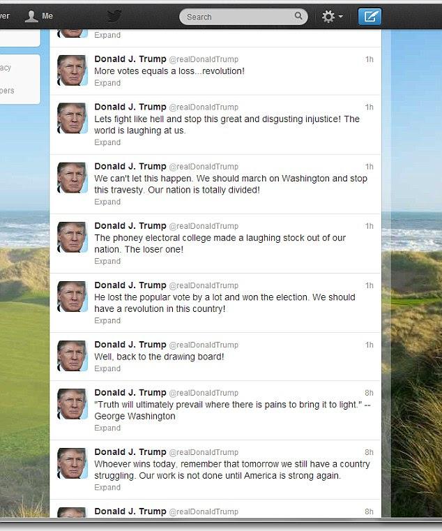 Ladainha: Trump posteriormente eliminado partes do seu discurso, mas manteve a maior parte dela, explodindo o Colégio Eleitoral ea direção da nação