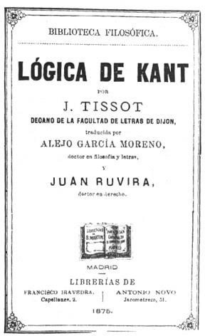 Lógica De Kant Traducida Al Francés Por J Tissot Traducida