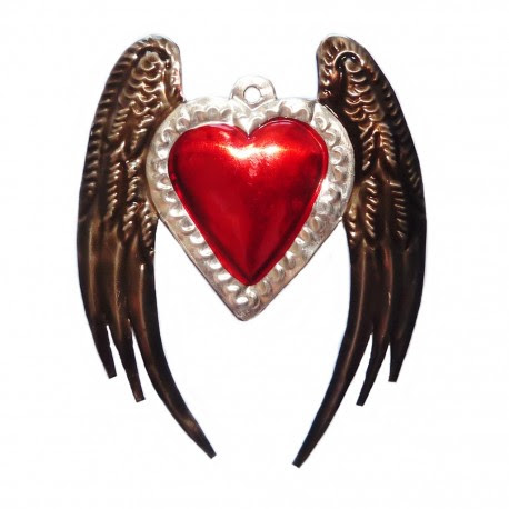 Tin Sacred Heart With Angel Wings Mexican Religious Onament Casa
