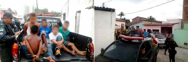 Suspeitos do assalto foram detidos no bairro de Mãe Luíza e conduzidos à 4ª DP (Foto: Divulgação/Polícia Militar do RN)
