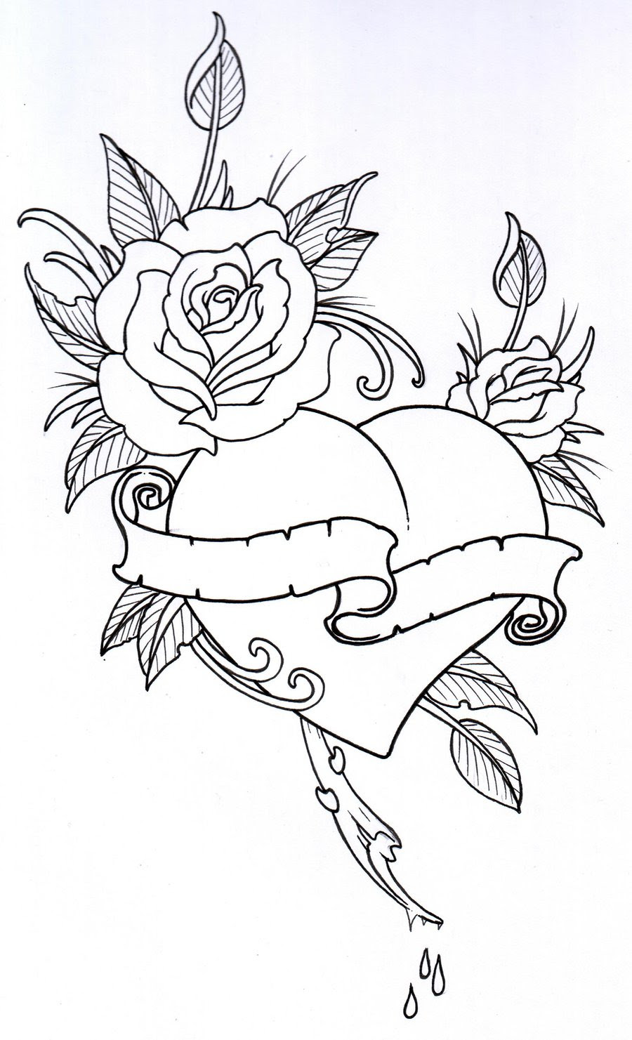 Rose Heart Drawing At Getdrawingscom Free For Personal Use Rose
