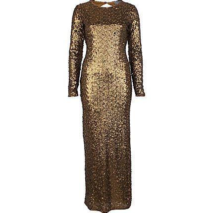Goldfigure: gold sequin maxi dress from River Island
