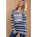 Bright Crotchet Knit Blouse S / Blue