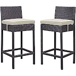 Modway Lift Bar Stool Outdoor Patio Set of 2, Espresso Beige