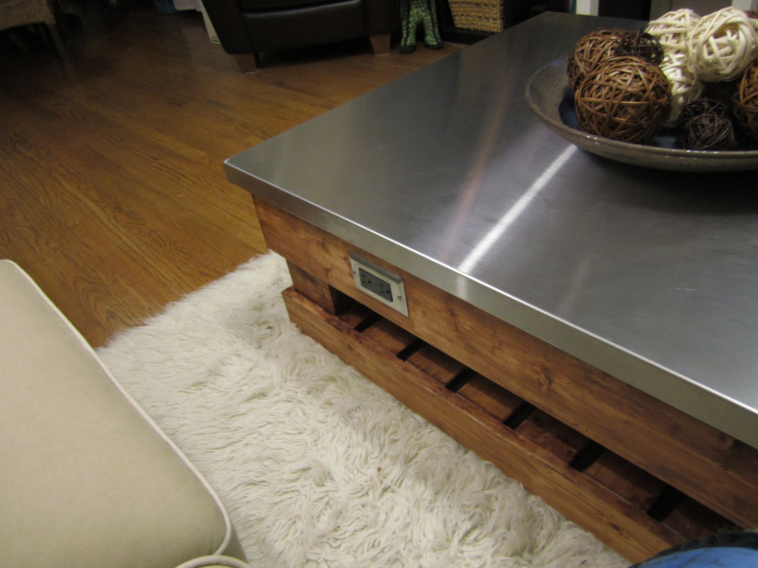 Custom Coffee Table and Side Tables with Stainless Steel Tops