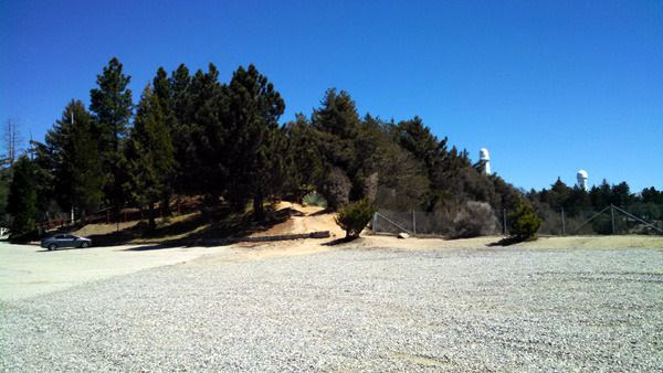 My 2015 Honda Civic is visible at the left side of this photo while Mount Wilson Observatory's two 150-foot solar telescopes are visible to the right...on March 24, 2016.