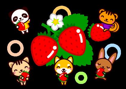 苺狩りとかわいい動物イラスト 5月季節素材のプチッチ