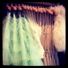 Minty tulle and white fur. Mmmmm