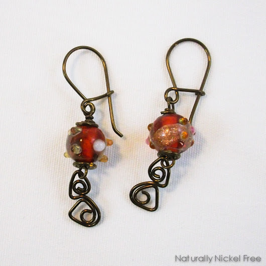 Red Glass Earrings with Niobium Abstract Wirework