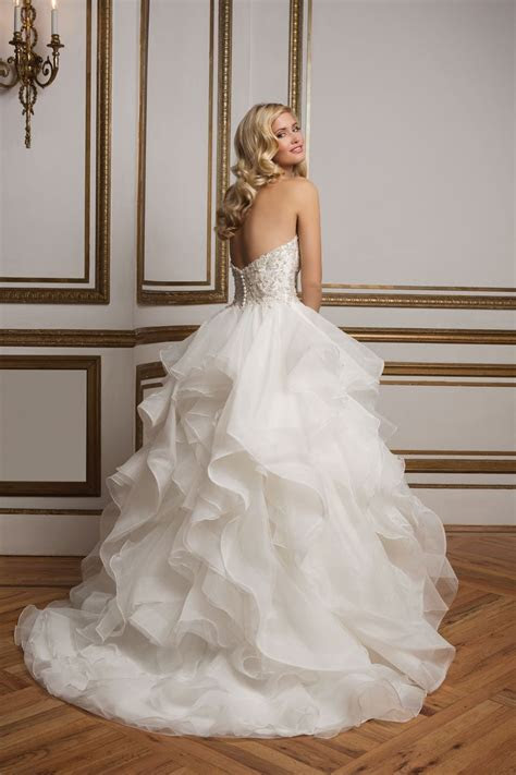 Style 8845: Beaded Bodice and Organza Ruffle Skirt Wedding