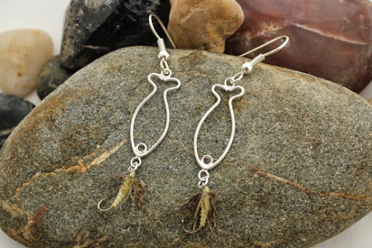 Alice's Anglerettes  Fly Fishing Earrings  by jewelrybysassy
