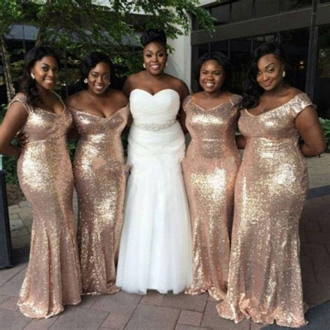Gold Sequin Bridesmaid Dress Long Off Shoulder vestido