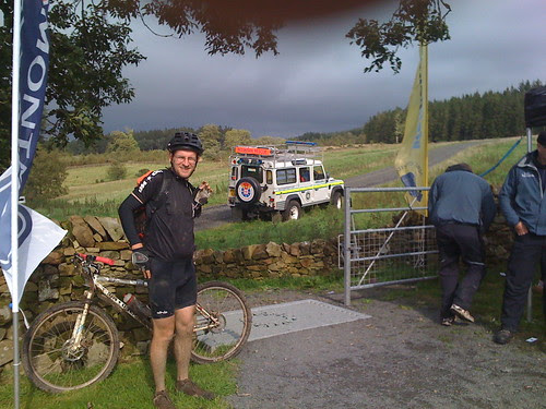 About to leave the food stop at Newcastleton after 65 miles