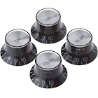 Gibson Top Hat Style Knobs with Metal Insert, Black/Silver
