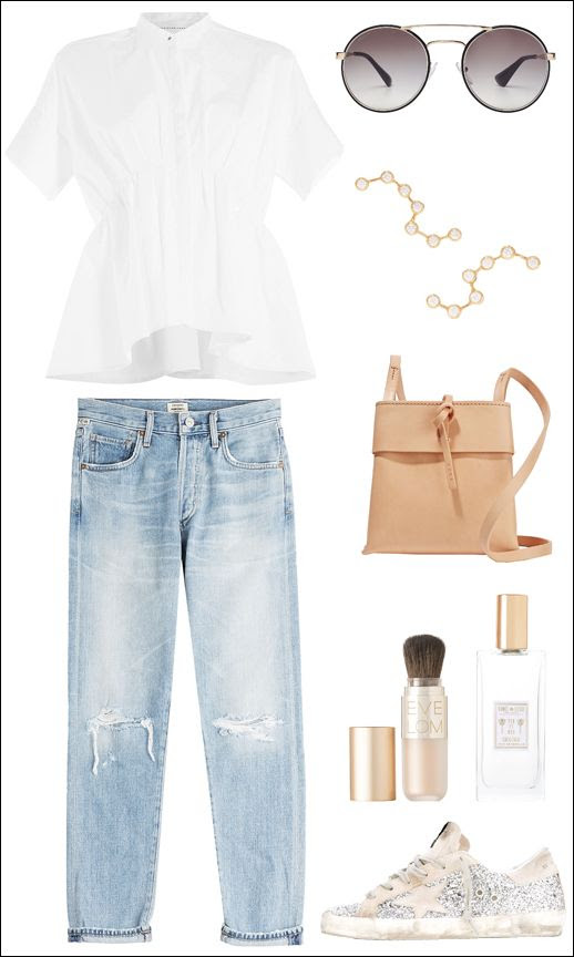 Le Fashion Blog Spring Style White Peplum Beckham Top Round Prada Sunglasses Constellation Earrings Citizens Jeans Kara Bag Eve Lom Coqui Coqui Golden Goose Sneakers