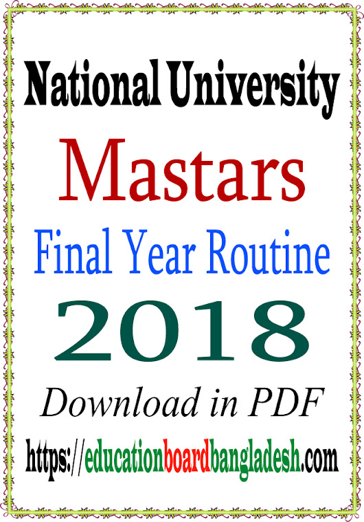 Masters Final Year Exam Routine 2018 (New) PDF | Education Board Bangladesh