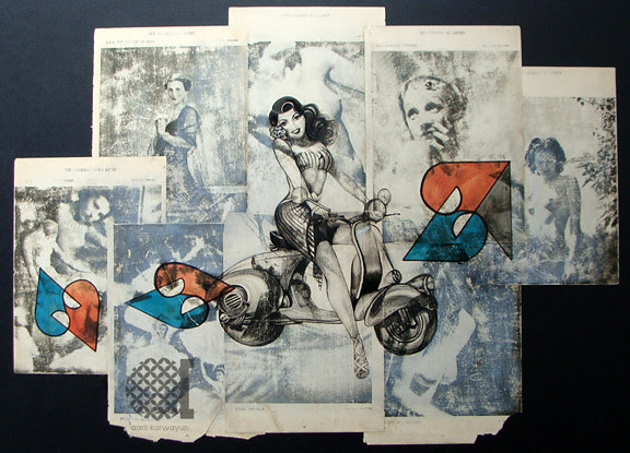mixed media- pin up illustration