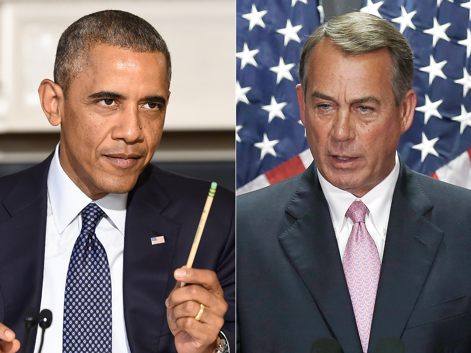 GTY barack obama john boehner split main jt 140727 1 Boehner v. Obama: House Approves Resolution to Sue President