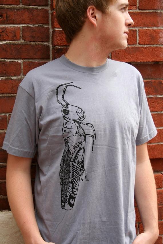 Giant Grasshopper Hand Drawn Design on American Apparel Slate Tee for Men