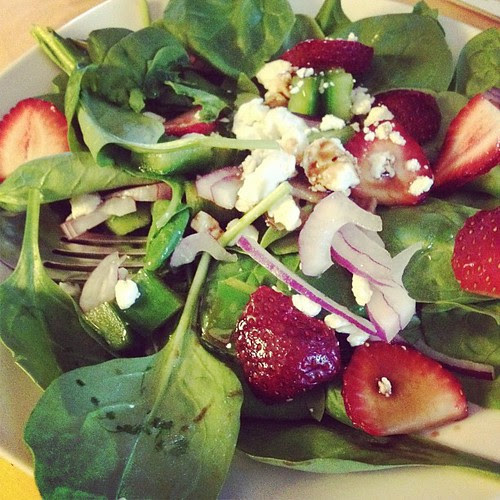 Mmm spinach and strawberry salad for lunch