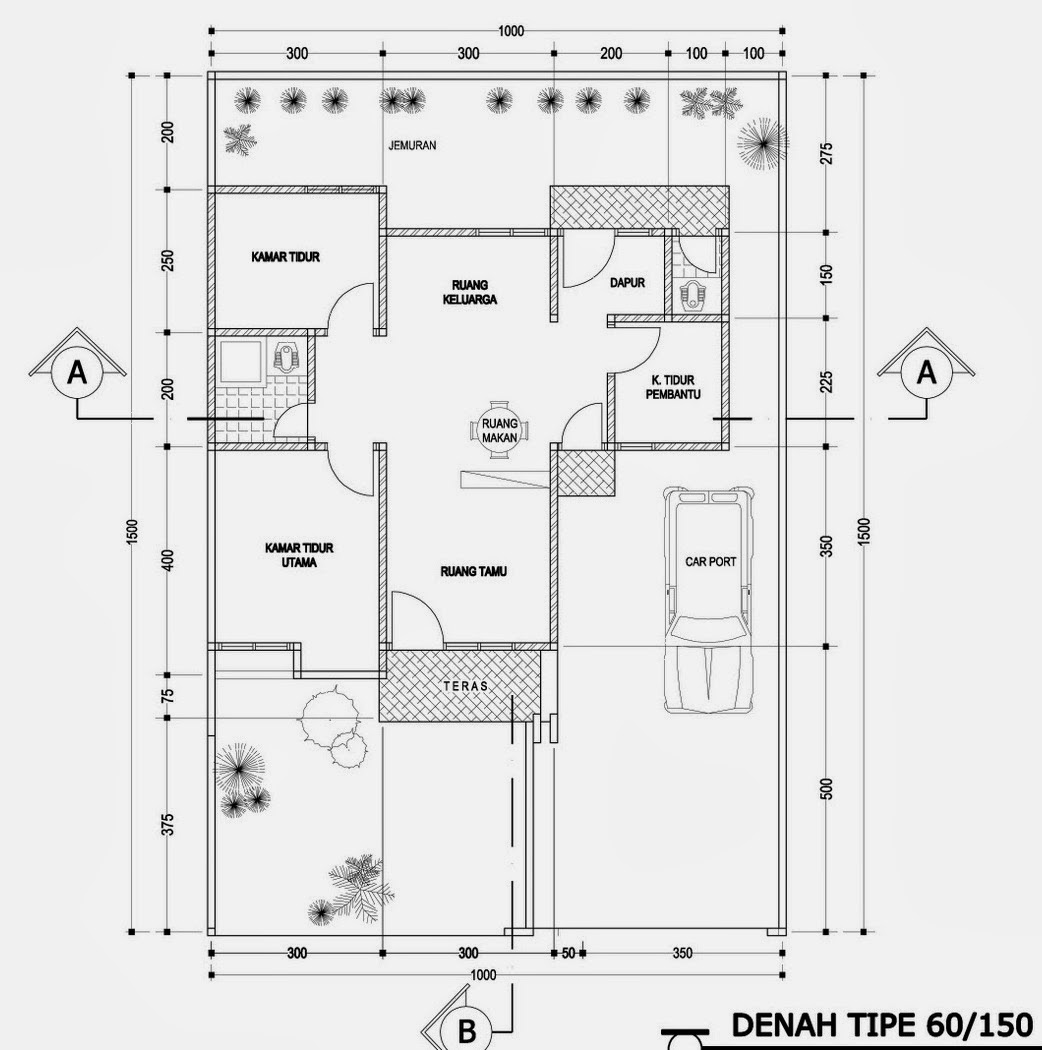 Denah Pondasi Rumah Minimalis 3 Kamar Huniankini