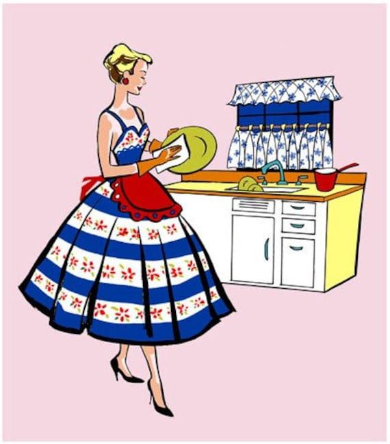 PRINT - Fashionista του 50 (Ξήρανση Πιάτα) Εκτύπωση Κουζίνα Τραπεζαρία