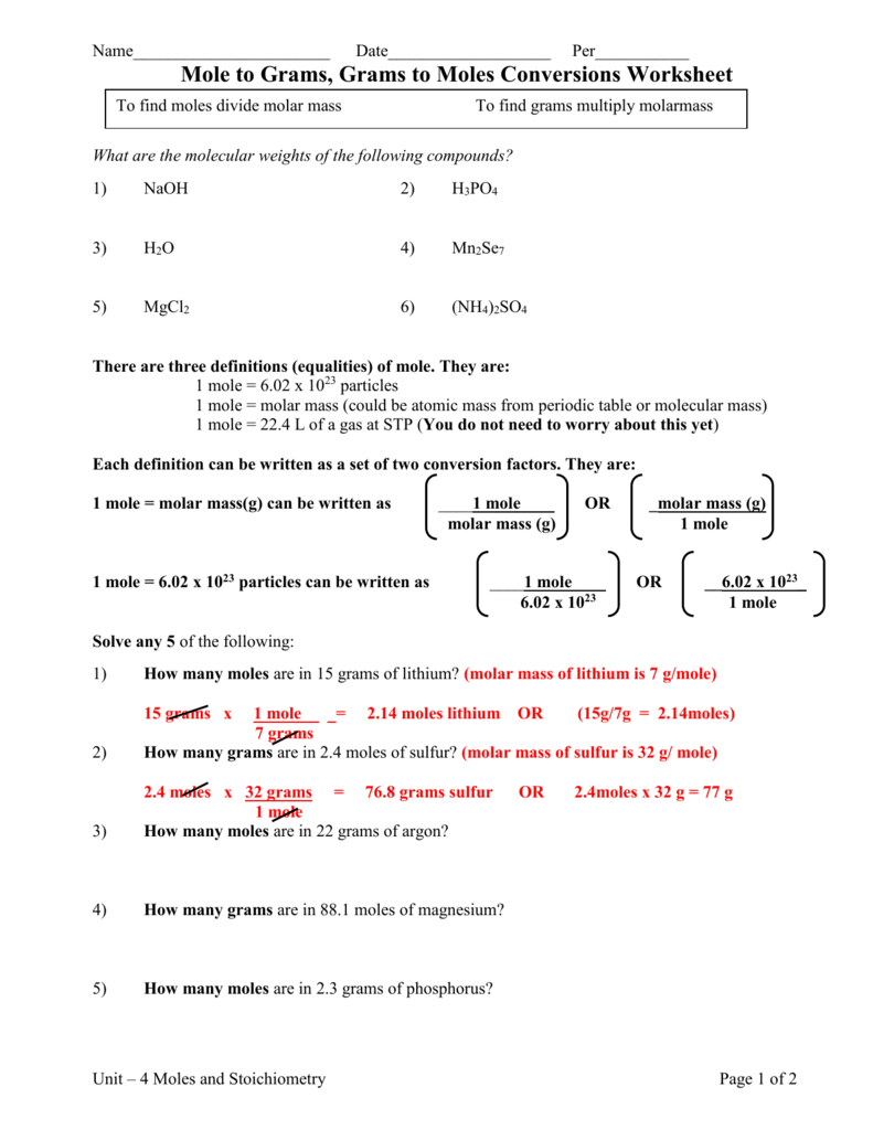 Mole Conversion Practice Worksheet  Bluegreenish