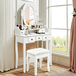 Gymax Vanity Table Oval Cushioned Stool Dressing Table White